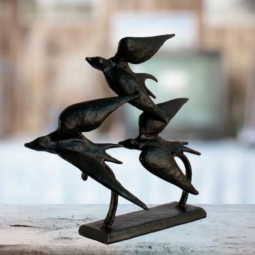 SWALLOWS Elur Iron Ornament 22cm Mocha