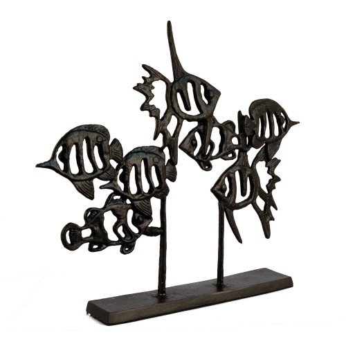 ANGEL FISH SHOAL Elur Iron Ornament 33cm Mocha