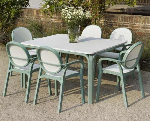 Lauro Table – edelweiss (700 x 1400) with Gemma Chairs