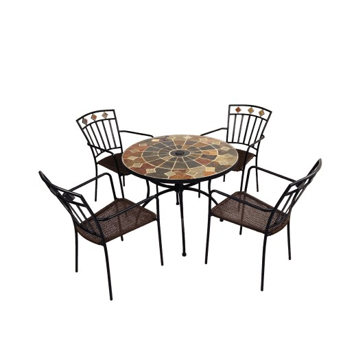 Granada 91cm Patio Table with Malaga chairs