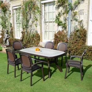 Toscana 165 table - Ravenna, with Creta wicker chairs