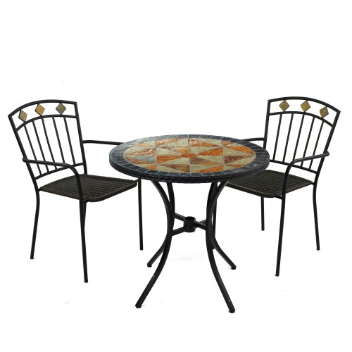 Tobarra 76cm Bistro Table with Malaga Chairs