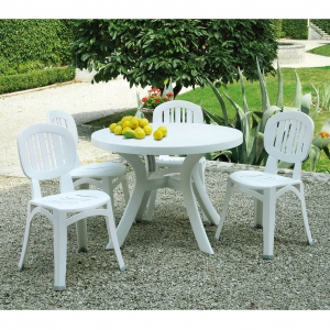 Toscana 100 white with Elba chairs