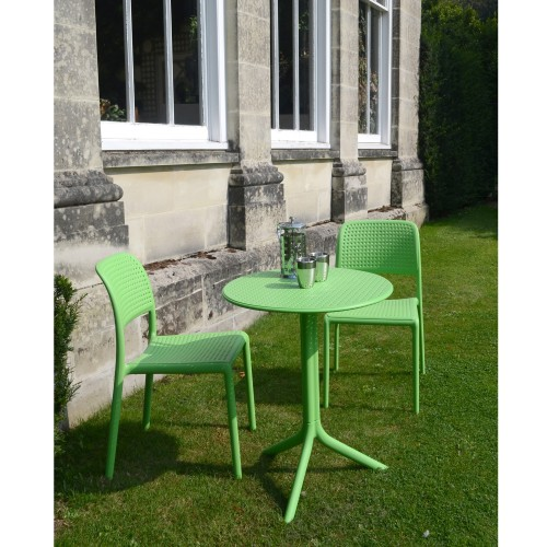 Step Table with Bistrot chair - lime green