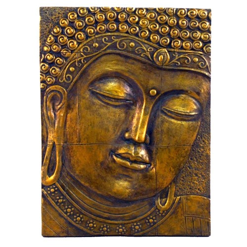 Gold effect Buddha Plaque