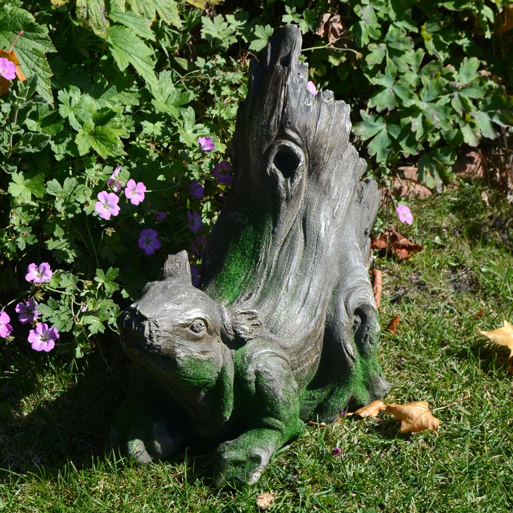 Driftwood Squirrel Garden Statue And Planter