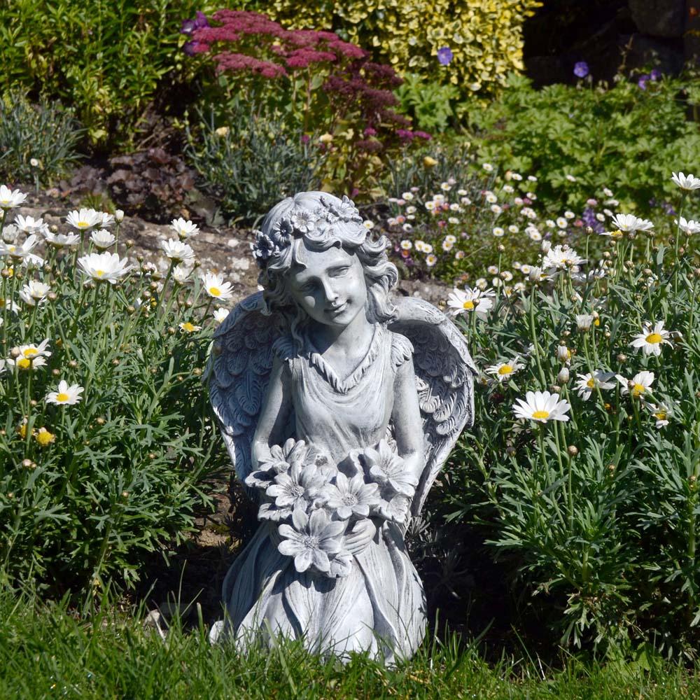 Flower Angel Kneeling 49cm Tall Garden Statue