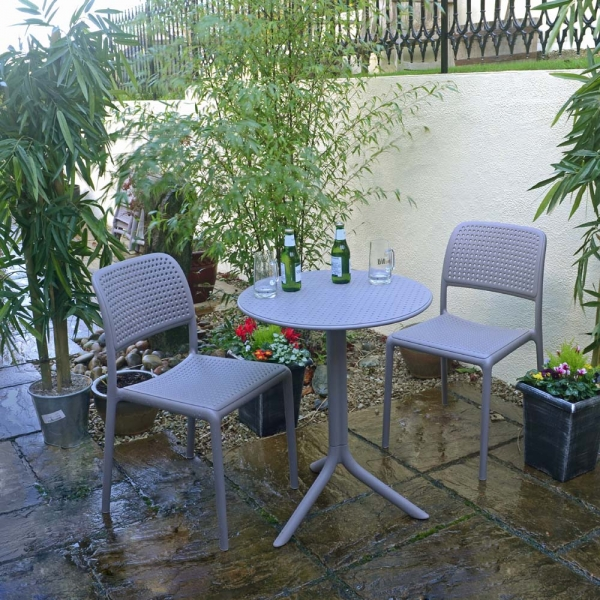Step Table with Bistrot chairs, an example of our Turtle Dove Grey Nardi Garden Furniture