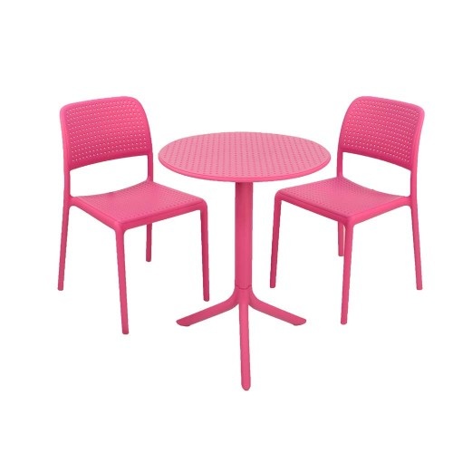 Step Table with Bistrot chairs pink
