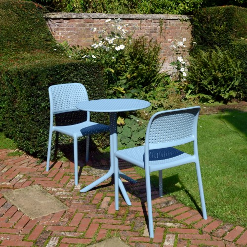 The Step bistro table with Bistrot chairs in Sky Blue
