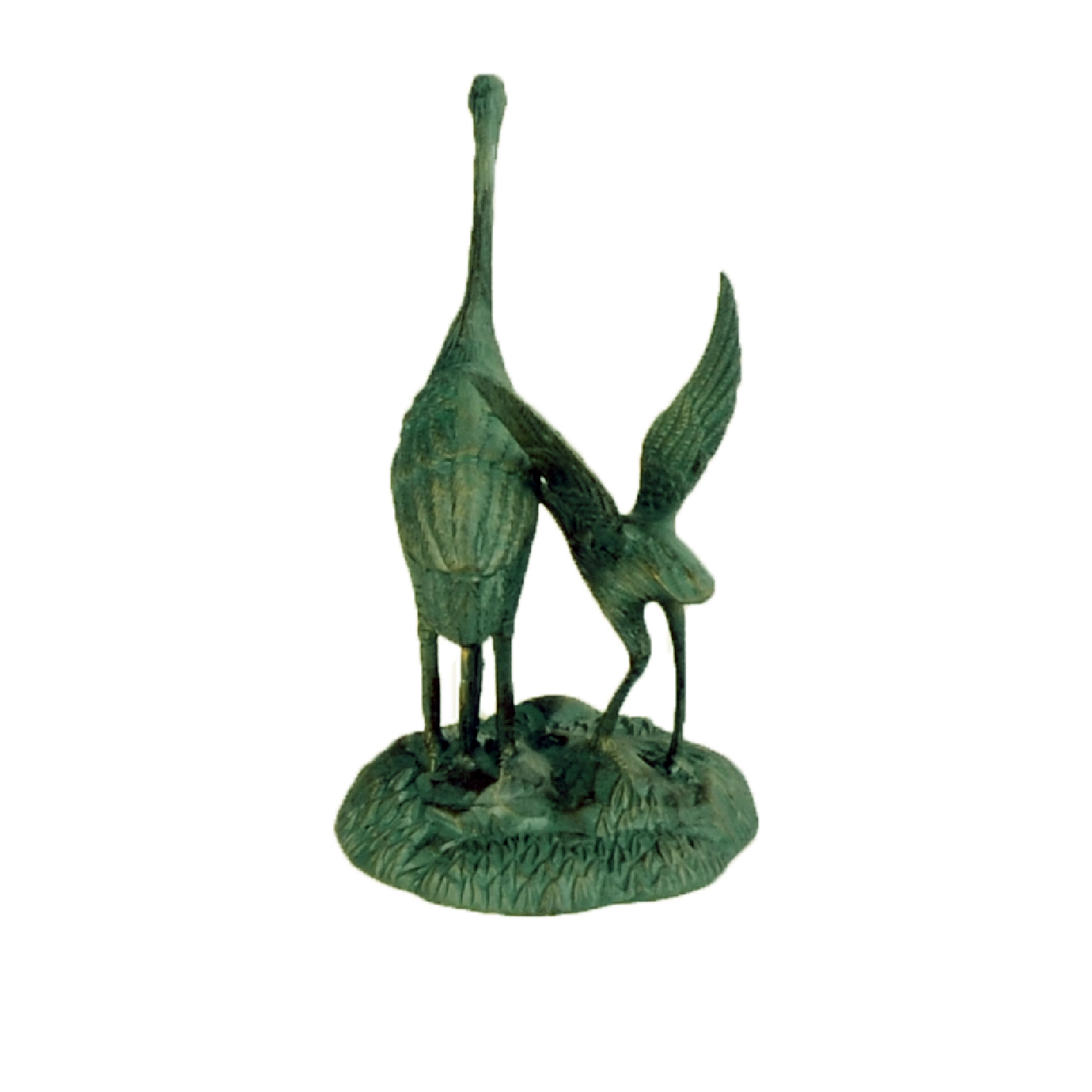 Cranes Pair On Base Small Statue