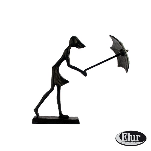 Umbrella Girl in Wind - Figurine