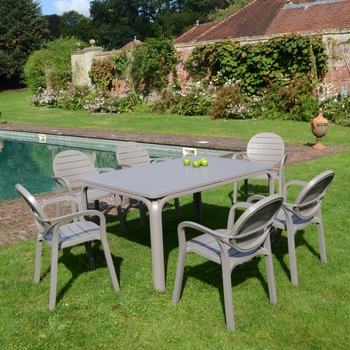 Alloro all Turtle Dove grey table with Palma chairs