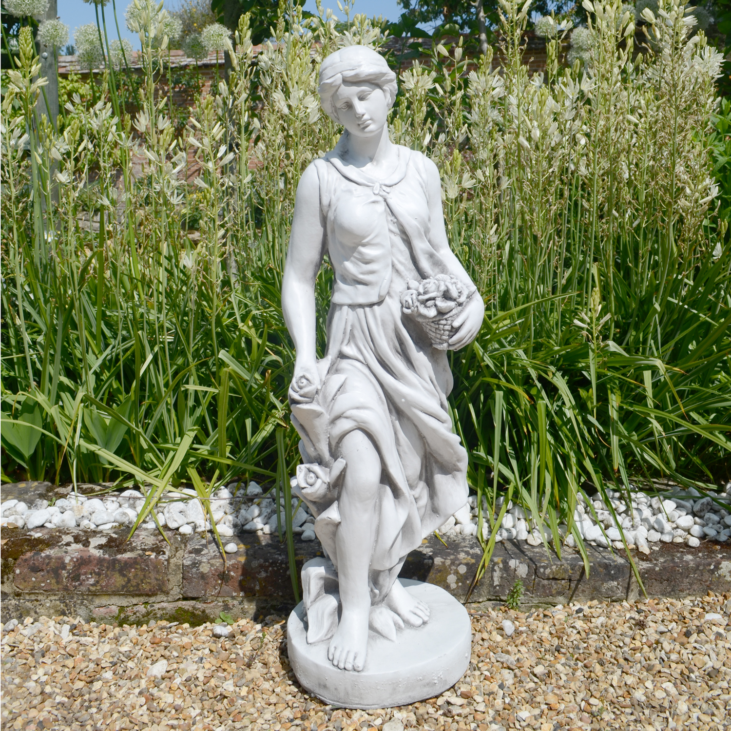 Granite Lawn Ornaments : Susie in spring traditional statue