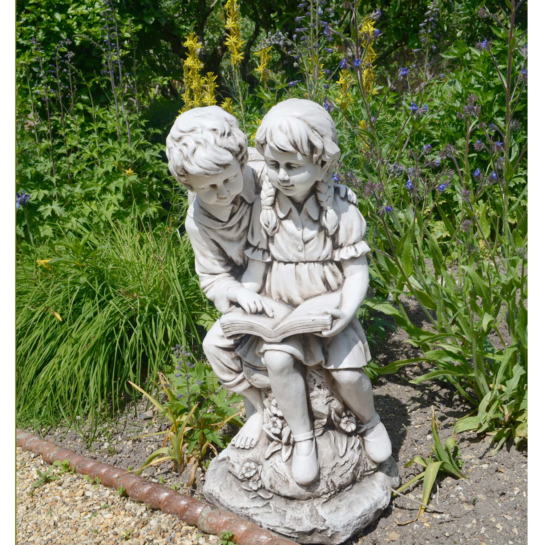 Jack Amp Jill Reading Statue Stone Effect