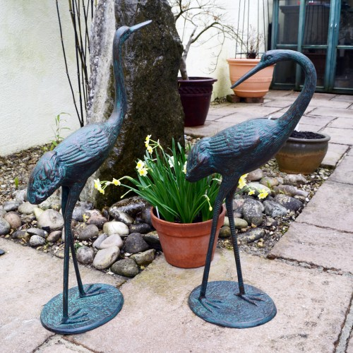 Pair of Cranes in aluminium - medium