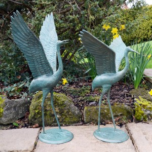Cranes Pair outstretched wings - gold verdigris