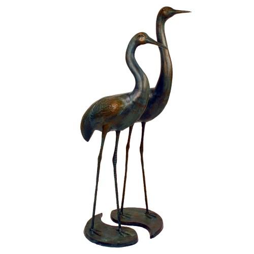 Cranes pair Tall Aluminium Dark Verdigris Statue