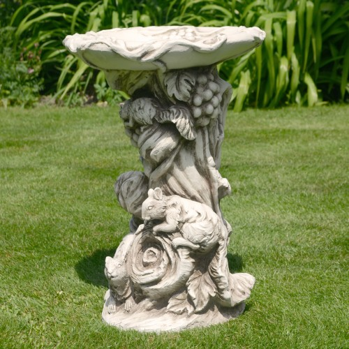 WOODLAND Bird Bath Antique Stone Effect