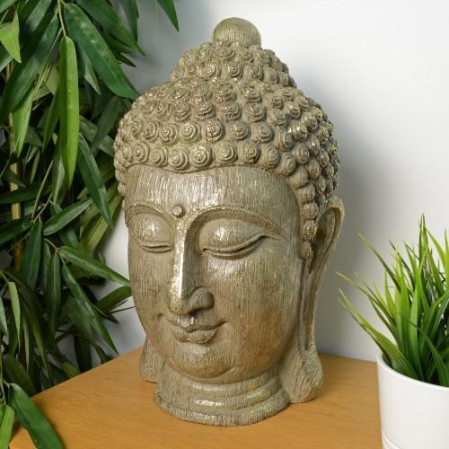 BUDDHA HEAD Carved Wood Effect