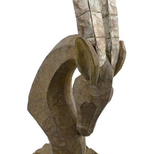 Oryx Head Carved Wood Effect