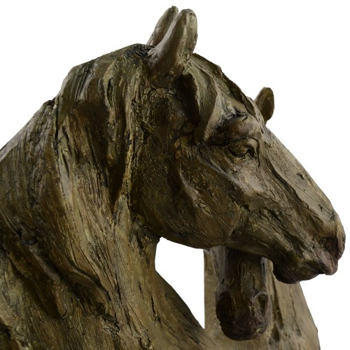 Double Horse Head Carved Wood Effect