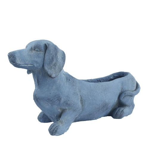 Sausage Dog Planter Blue Iron Effect