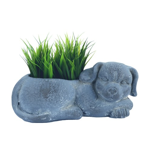 Dog Planter Blue Iron Effect