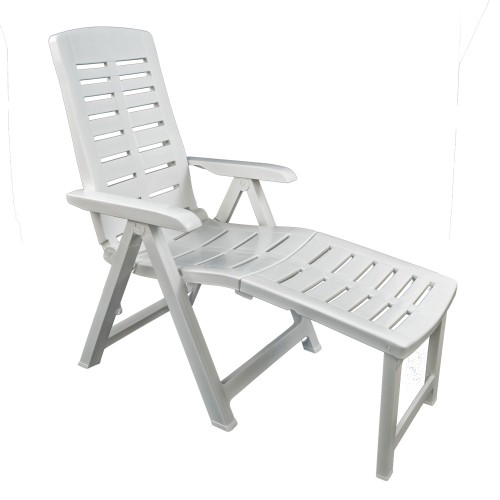 Pesaro Recliner Chair with footrest in white