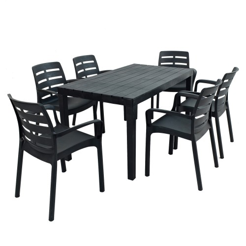 Roma rectangular table with Siena chairs