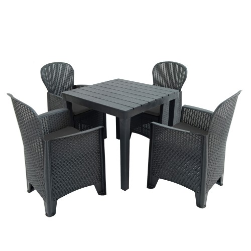 Roma square table with Sicily chairs
