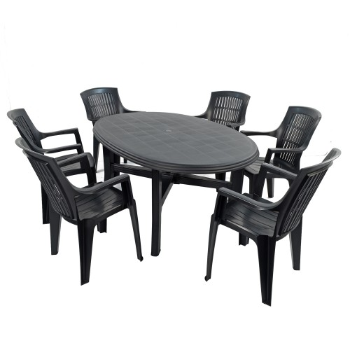 Teramo 6 Table with Parma chairs in anthracite