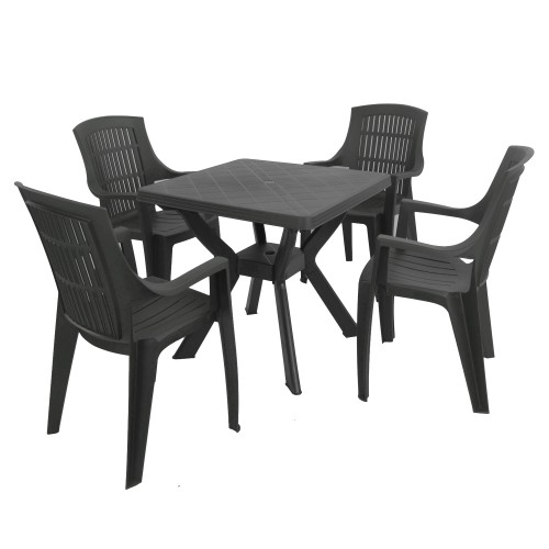 Turin table with Palma chairs in anthracite