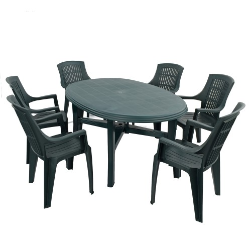 Teramo 6 Table with Parma chairs in green