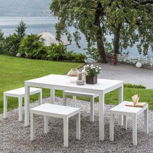 Roma table and bench set in white